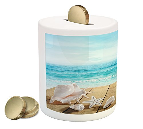 Ambesonne Seashells Piggy Bank, Wooden Boardwald with Seashells Sunshine Vacations Beach Theme, Printed Ceramic Coin Bank Money Box for Cash Saving, Sand BrownPale Brown Beige