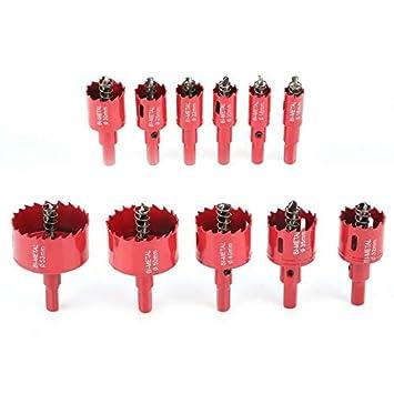acero inoxidable Abridor de agujeros M42 de 15 a 200 mm para taladro de sierra de perforaci/ón tuber/ía pl/ástico rojo para aluminio SENRISE metal y madera