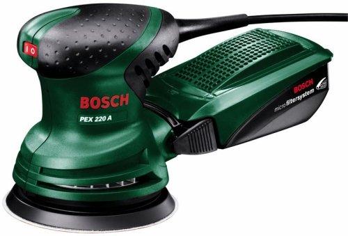 Bosch DIY Exzenterschleifer PEX 220 A, 1 Schleifblatt K 80, (220 W, Schleifteller-Ø 125 mm, Microfilter System, Schwingzahl 4.000 - 24.000 min-1, Exzentrizität 4 mm)