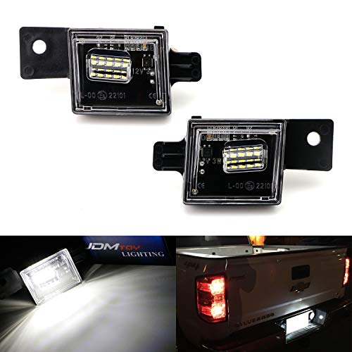 iJDMTOY OEM-Fit 3W Full LED License Plate Light Assembly Kit For Chevrolet Silverado Colorado GMC Canyon Sierra 1500 2500 3500 Truck, Powered by 15-SMD Xenon White LED Diodes