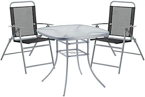 Havnyt - Juego de Mesa para jardín (80 cm, 4 sillas Plegables ...