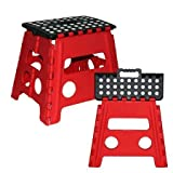 Easy Life Carry Folding Step Stool / Seat With Anti-Slip Surface 13 Inch For Kids Works Home - Red/Black