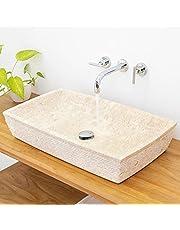 wohnfreuden Marmer wasbak 70 x 40 cm ✓ groot vierkant crème licht ✓ natuursteen wasplaats handwastafel steenwasschaal natuursteen opzetwastafel voor uw badkamer ✓ incl. techn. tekening ✓