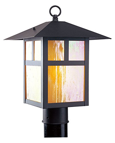 Bronze 1 Light 100W Post Light With Medium Bulb Base And Iridescent Tiffany Glass From Montclair Mission Series