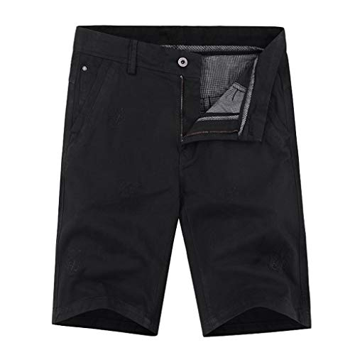 (Forthery Men Work Short Casual Outdoors Loose Fit Multi-Pocket Pure Color Cotton Pants(Black,US Size 30 = Tag 31))