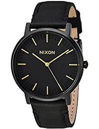 Nixon Unisex The Porter Leather All Black/Gold