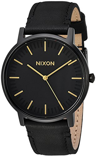 Nixon Porter Leather A10581031-00. Black and Gold Men's Watch (20-18mm Black Leather Band and Black/Gold 40mm Watch Face)