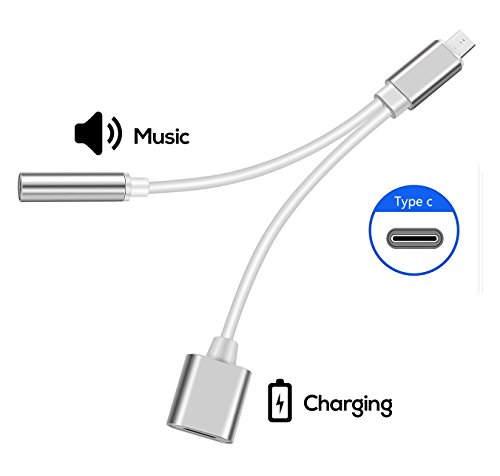 2 in 1 Type C to 3.5mm Audio Adapter, Worcie 2 in 1 USB Type