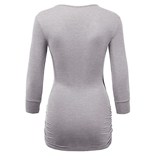 Femme Manches Top Dcontract Chemisier Gris Col Solid V DAYLIN Courtes 8WU6gqng