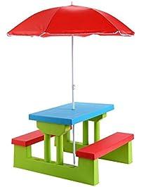 Ku0026A Company Picnic Table Folding Kids Outdoor Bench Children Umbrella  Garden Portable Yard Seat Play Furniture