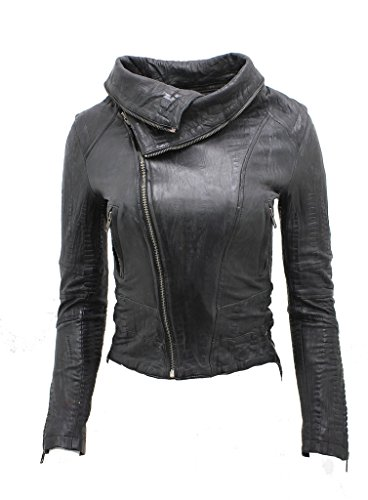 Ladies Short Retro Black Croc Removable Zip Neck Leather Biker Jacket 8 by Infinity