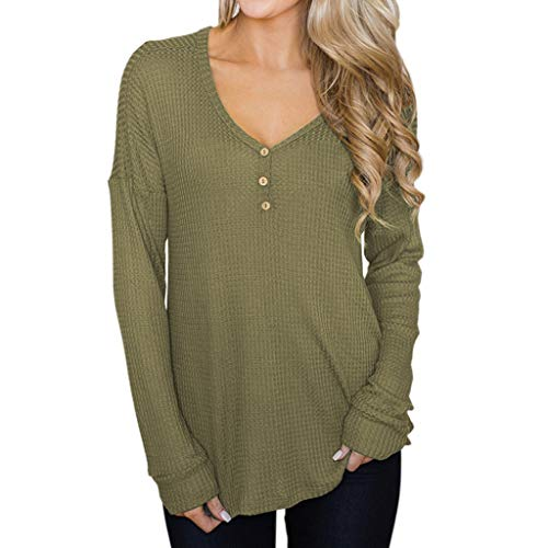 AOJIAN Blouse Women Long Sleeve T Shirt Button Down Loose Solid V Neck Tees Sweater Shirts Tops - Charcoal Top Evergreen