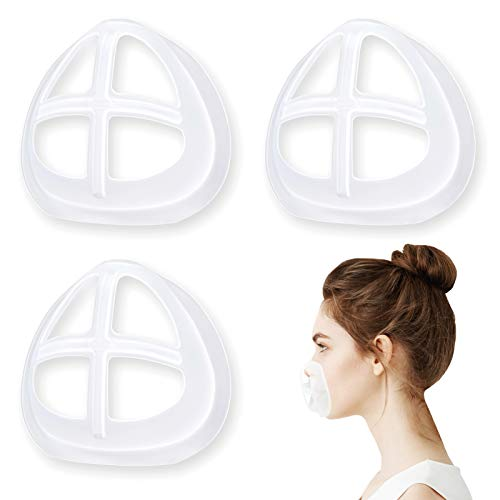 Silicone Mask Bracket Inner Support Frame for Homemade Cloth Mask Cool Mask Hack More Space for Comfortable Breathing Washable Reusable, 3pcs Clear