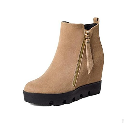 Casual Camel Winter for Round Toe Shoes Comfort PU Boots Black Fall Flat Boots Women's HSXZ Ankle Camel ZHZNVX Booties xwZAqIHZ