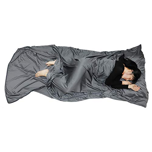Browint Sleeping Bag Liner with All Around Two-Way Zipper, Travel Sheet with Pillow Pocket, 87