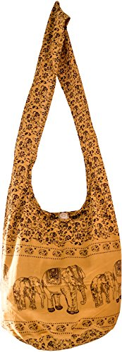 Sling Cross body BAG COTTON over 40 prints sustainable living eco friendly shopping bag (Yellow ELEPHANT)