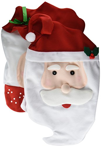 GIM Christmas Kitchen Chair Slip Covers Featuring Mr & Mrs Santa Claus for Holiday Party Festival Halloween Kitchen Dining Room Chairs Set of 2