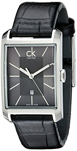 Calvin Klein Womens K2M23107 Window Stainless Steel Watch with Black Leather Band