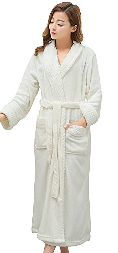 Women's Plush Soft Warm Fleece Microfiber Bathrobe Robe