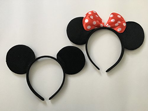 Minnie And Mickey Ears (Mickey Mouse and Minnie Mouse Ears Solid Black and Red Bow Headband Set of 2 Boys and Girls for Birthday Party or Celebrations)