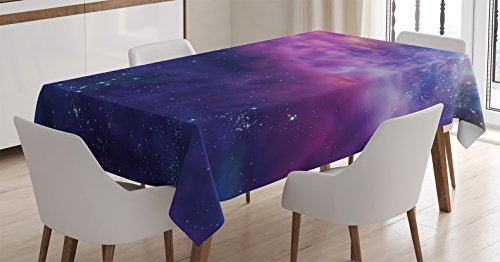 Outer Space Decor Tablecloth by Ambesonne, Spiritual Dim Star Clusters Milky Circle Back with Solar System Elements, Dining Room Kitchen Rectangular Table Cover, 52 W X 70 L Inches, Purple (Purple Circle)