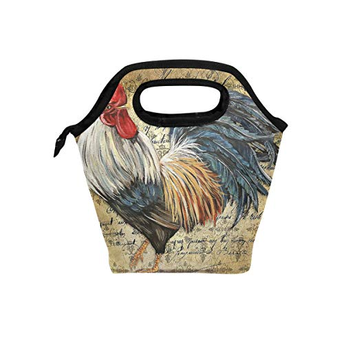 Awesome Rooster Chicken Insulated Lunch Tote Bag Cooler Reusable Picnic Handbag Zipper Travel Lunchbox Bags for School Office