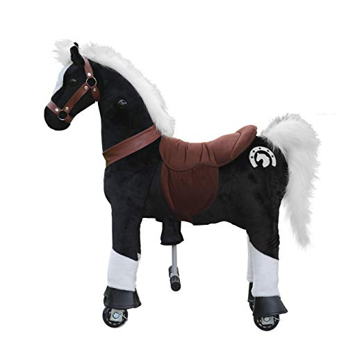 (Medallion - My Pony Ride On Real Walking Horse for Children 3 to 6 Years Old or Up to 65 Pounds (Color Small Black Knight) for Boys and Girls)