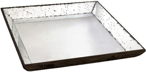 A&B Home 30348 Mirror Glass Tray, 24 by 24-Inch (Mirrored Tray Large)