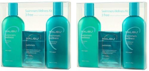 Malibu C: Swimmers Wellness Treatment Kit, Includes Swimmers Wellness Shampoo and Conditioner, 9 oz each, 4 Swimmers Natural Wellness Treatment Packets, 5 grams each