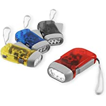 Chromo Inc Immedia-Light Hand Crank Flashlight 4 Pack of Immediate Light for Emergency, Camping, Home or Car. Green Energy. No-Battery Required. Translucent Case with 3 LED Pure White light