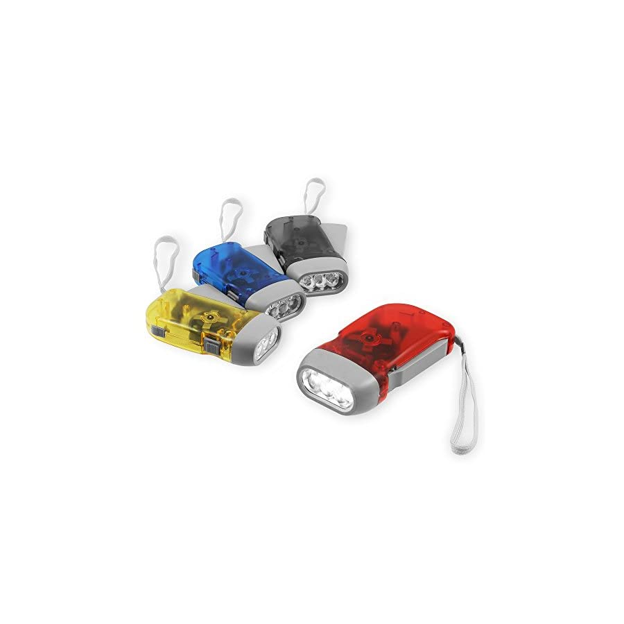 Chromo Inc Immedia Light Hand Crank Flashlight 4 Pack of Immediate Light for Emergency, Camping, Home or Car. Green Energy. No Battery Required. Translucent Case with 3 LED Pure White light