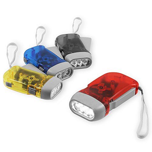 Chromo Inc Immedia-Light Hand Crank Flashlight 4 Pack of Immediate Light for Emergency, Camping, Home or Car. Green Energy. No-Battery Required. Translucent Case with 3 LED Pure White light - Emergency Flashlight No Batteries
