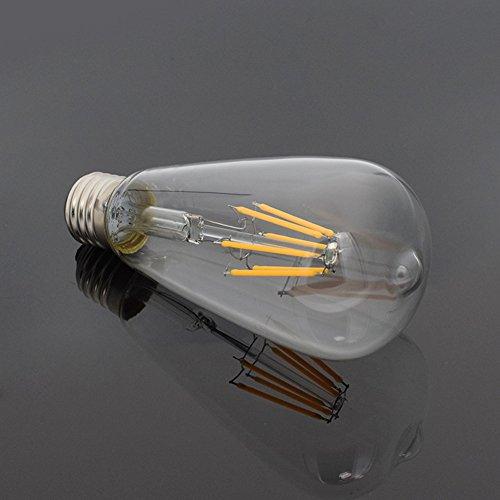 YCDC E27 12W Vintage Edison Filament Bulb LED Light Warm White ST64 Drop Lamp AC220V