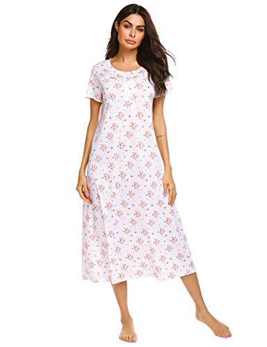 Floral Print Womens Nightshirt - Ekouaer Sleepwear Women's Casual Floral Print Nightshirt Short Sleeve Nightgown