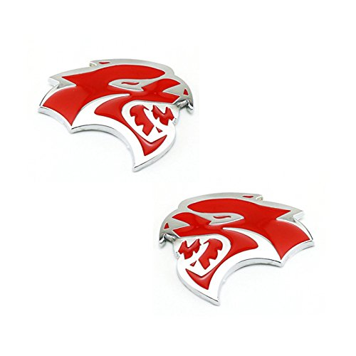Chrysler Dodge Viper (Red 2pcs Car SRT HELLCAT Head Metal Emblem Badge Decal Side Fender Sticker for Dodge Charger Challenger Ram Viper Chrysler Jeep SRT8 SRT4 SRT6)