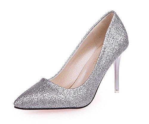 38 Zapatos Tacones Nightclubs High Nvxie Silver De 34 Tamaño Lentejuelas Sexy Super Fun Altos Gran Heels AqdRg6