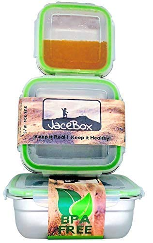 - JaceBox Stainless Steel Lunch Box Containers - Square Set of 3 - Leak Proof Bento Box Airtight Freezer Safe BPA FREE Metal Boxes with New Snap On Lid Great For Sandwiches Salads and Snacks by JaceBox