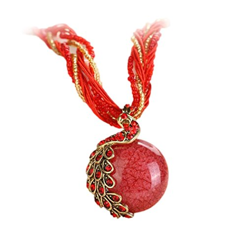 - HIRIRI Hot Sale Bohemian Women Beautiful Rhinestone Peacock Gem Pendant Statement Necklace Creative Gift (Red)