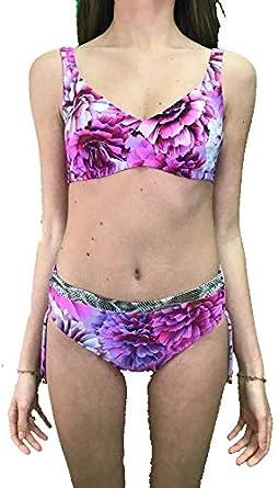 6c9bac891f23 Bikini Slip Alto Reggiseno con Coppe Senza Ferretto: Amazon.it ...