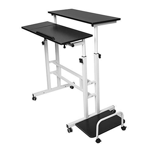 (VOYOAO Home Office Computer Desk + Host Pallet Adjustable Liftable Laptop Table (Black))