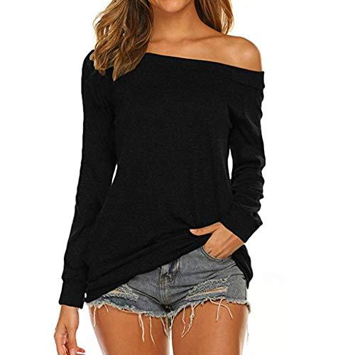 [해외]Women Blouse Long Sleeve Off Shoulder Solid Color Slouchy Loose Pullover Shirts Tops / Women Blouse Long Sleeve Off Shoulder Solid Color Slouchy Loose Pullover Shirts Tops (XL, Black)