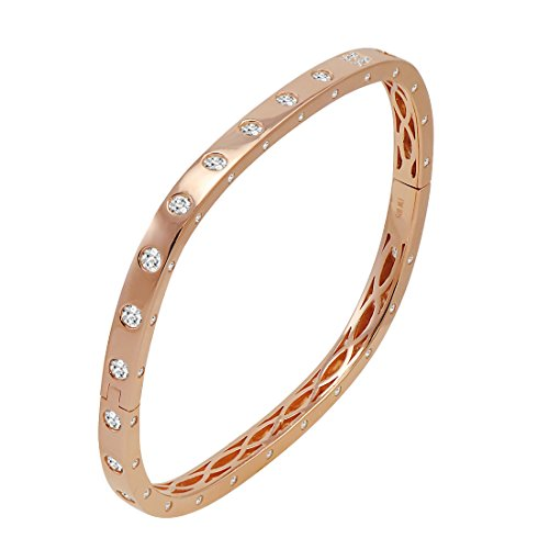 Amanda Rose Cubic Zirconia Rose Gold Flashed Sterling Silver Fancy Bezel Cuff Bangle