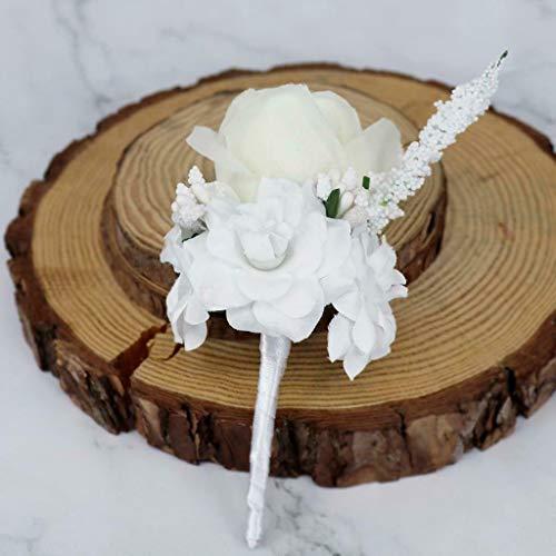Romantic Silk Rose Flower Boutonniere Bridal Button Hole Wedding Corsage |Color - White|