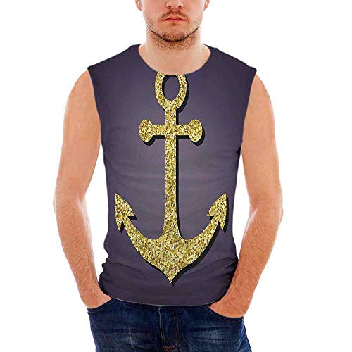 Mens Workwear Arrow Ultra Cotton Tank,Anchor Pattern with Golden Alluring Filli