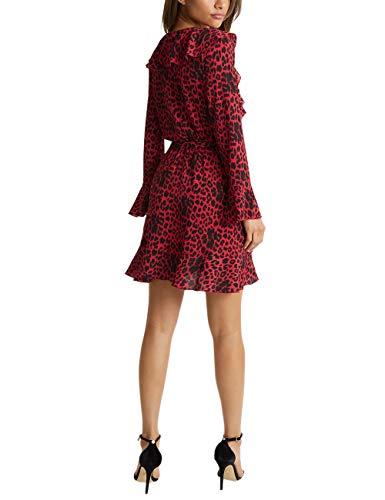 Leopardenmuster Lipsy Damen Rüschenkleid Mit Rot wxtp8q