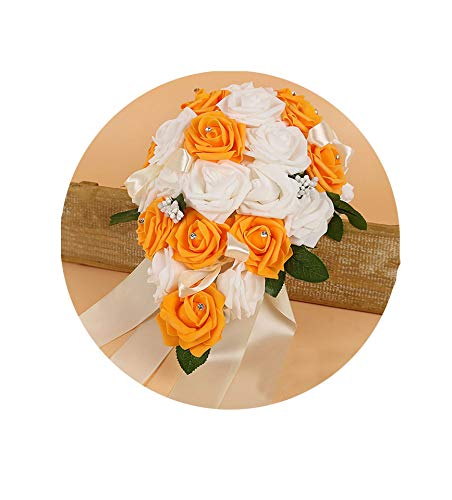 (Artificial-Flowerscrystal Bridesmaid Bridal Bouquets Rose Artificial Foam Flower Handmade Water Drop Shaped Wedding Bouquet,Orange)