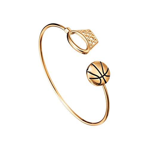 PANGRUI Sports Charm Bangle Bracelet Basketball Cuff Bangle Bracelet for Basketball players (rose (Male Basketball Player Charm)