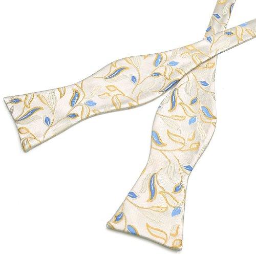 PenSee auto nœud Papillon pour homme Beige & Jaune & Floral Silk nœuds Bleu
