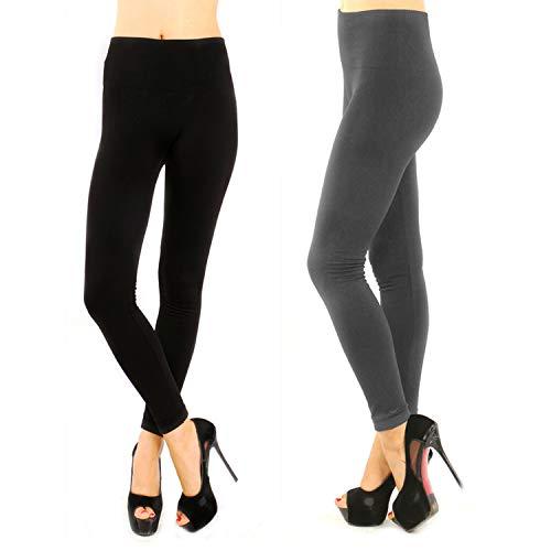 bfc01f4b40fe2 Double Couple 2 Pack Women High Waist Slimming Opaque Fleece Lined Leggings  Fashion Pants Workout