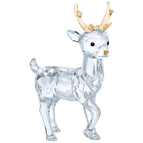 Swarovski Crystal Christmas Figurines - Swarovski Santa's Reindeer, Crystal, Transparent, 6.3x 4.3x 2.2cm